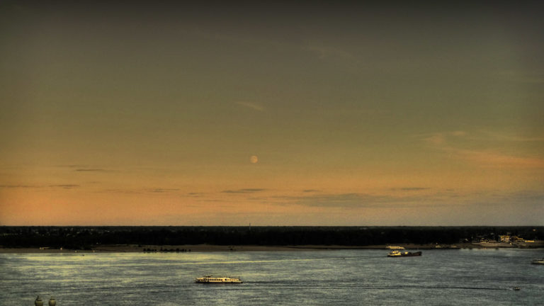 The Volga and a full Moon